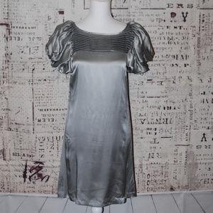 Kensie Silver metallic dress puffy sleeves size 6